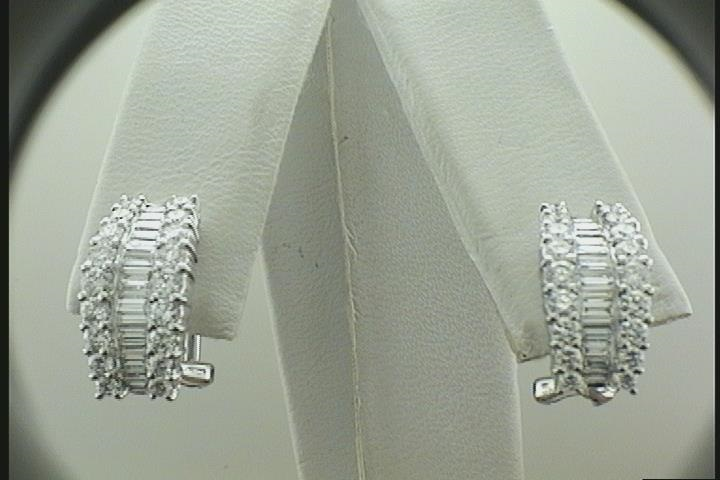 Lady's White 18 Karat Earrings With 30=0.57Tw Baguette F Vs2 Diamonds And 36=1.04Tw Round F Vs2 Diamonds
