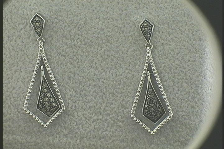 Lady's White 14 Karat Dangle Earrings With 0.12Tw Round Diamonds