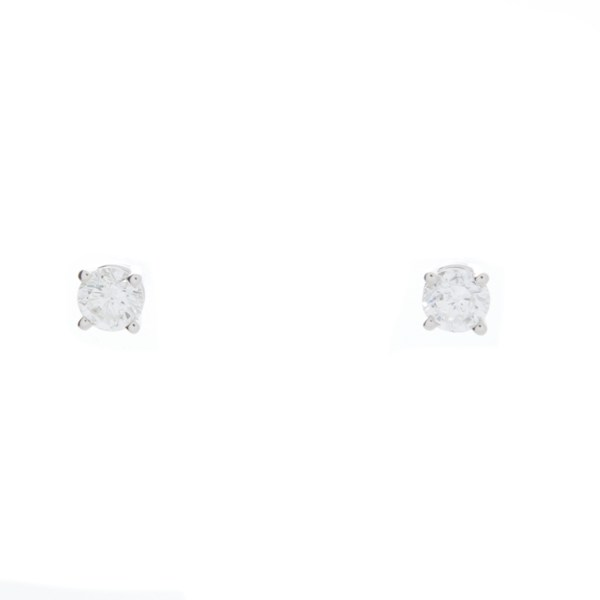 Lady's White 14 Karat Earrings With 2=1.00Tw Round G/H Si2 Diamonds