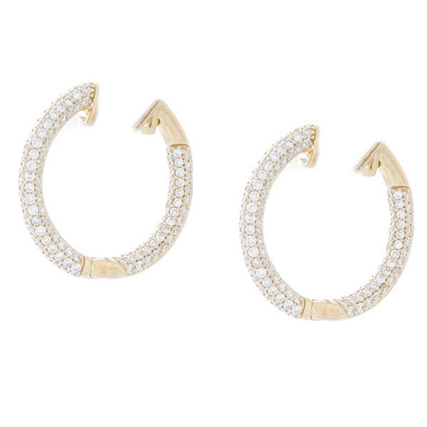 Lady's Yellow 14 Karat Pave Hoops Earrings With 1.42Tw Round G Vvs1 Diamonds