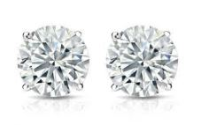 Lady's White 14 Karat Stud Earrings With 2=0.10Tw Round G/H Si2 Diamonds